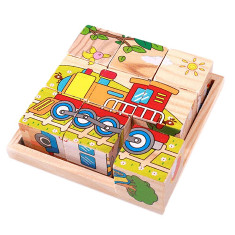 Wood Pallet Children Block Six-face Picture Wooden Jigsaw 3D Puzzle Toys Storage Box Cube Jigsaw Puzzle Toy Organizer Holder