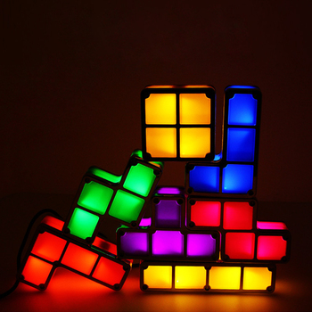 DIY Tetris Puzzle Light Stackable LED Night Light Constructible Block Desk Lamp 7 Colors Novelty Toy Children' s Gift image