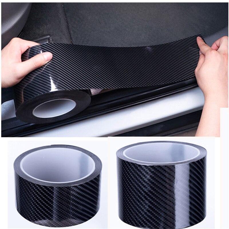 X AUTOHAUX 1m 3.3ft Car Universal Rubber Sticker Carbon Fiber Pattern Door Sill Protector Edge Guard Strip