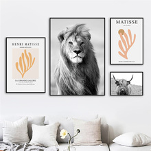 Lion Tiger Giraffe Yak Abstract Matisse Wall Art Canvas Painting Nordic Posters And Prints Wall Pictures For Living Room Decor
