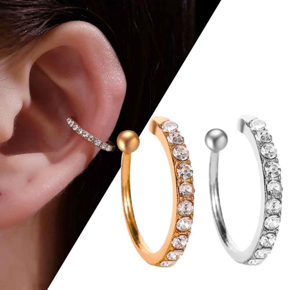 軟骨女性偽のイヤリングイヤリングクリスタルジルコニア耳カフラップクリップ耳