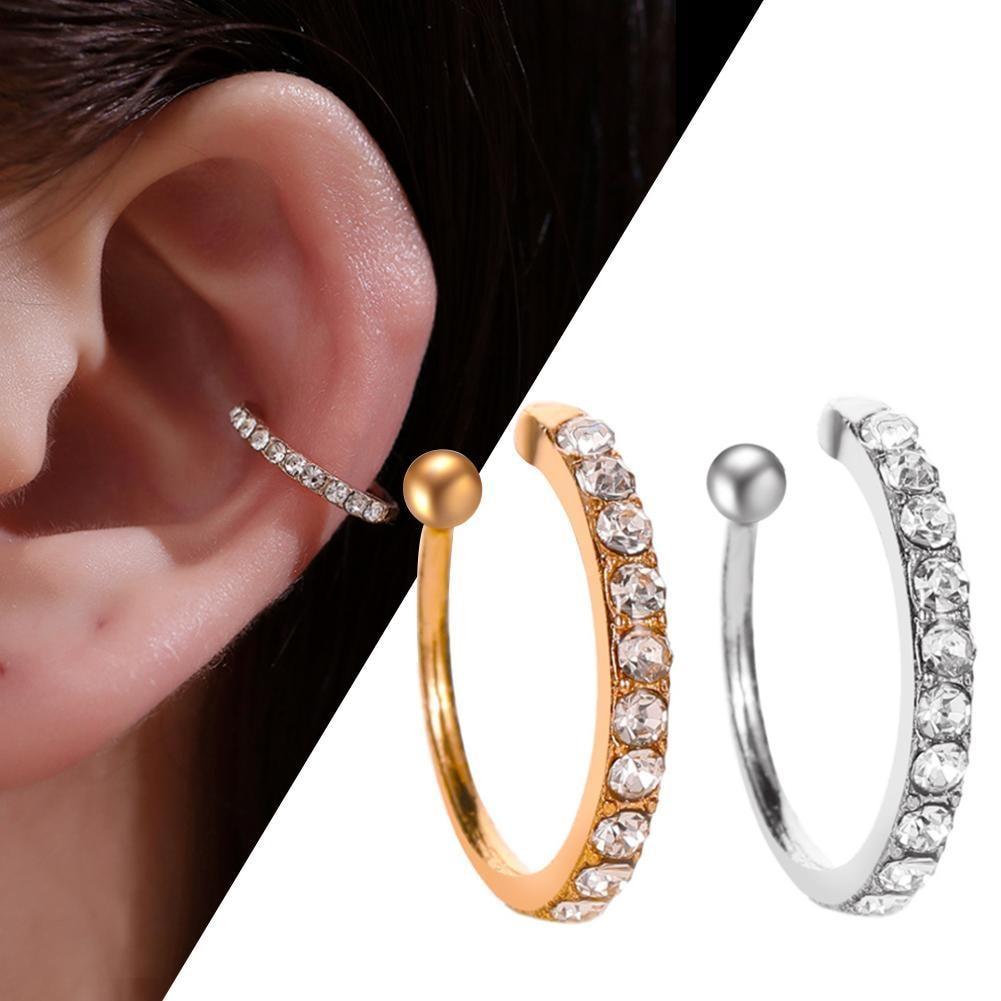 Cartilage Lady Fake Earring Earring Crystal Zirconia Ear Cuff Wrap Clip On Ear