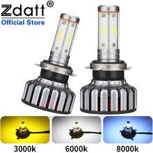 Zdatt lampada led h1 hb3 hb4 h11 h4 h7 carro led farol lâmpadas 3000k 6000k 8000 360 100w 12000lm 12v canbus turbo luzes de automóvel