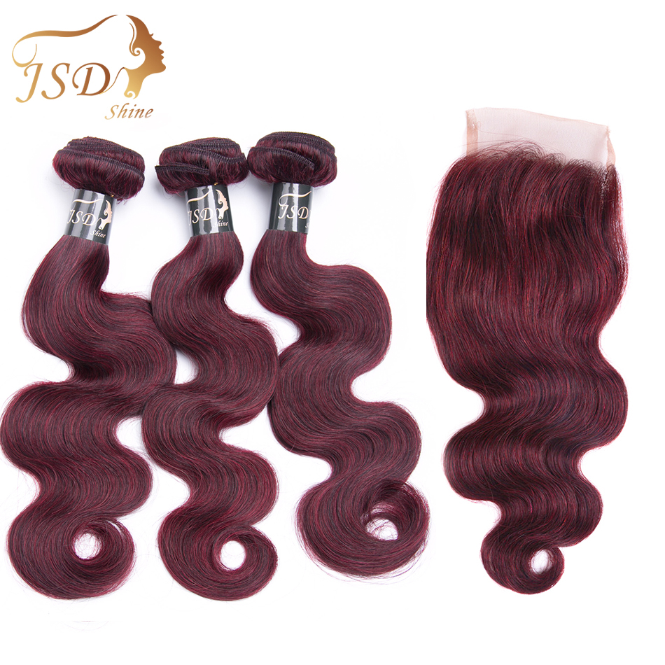 JSDShine Red 99J Burgundy Brazilian Body Wave Human Hair Weave 3 Bundles With Closure Non Remy  Hair Extension Free Shipping