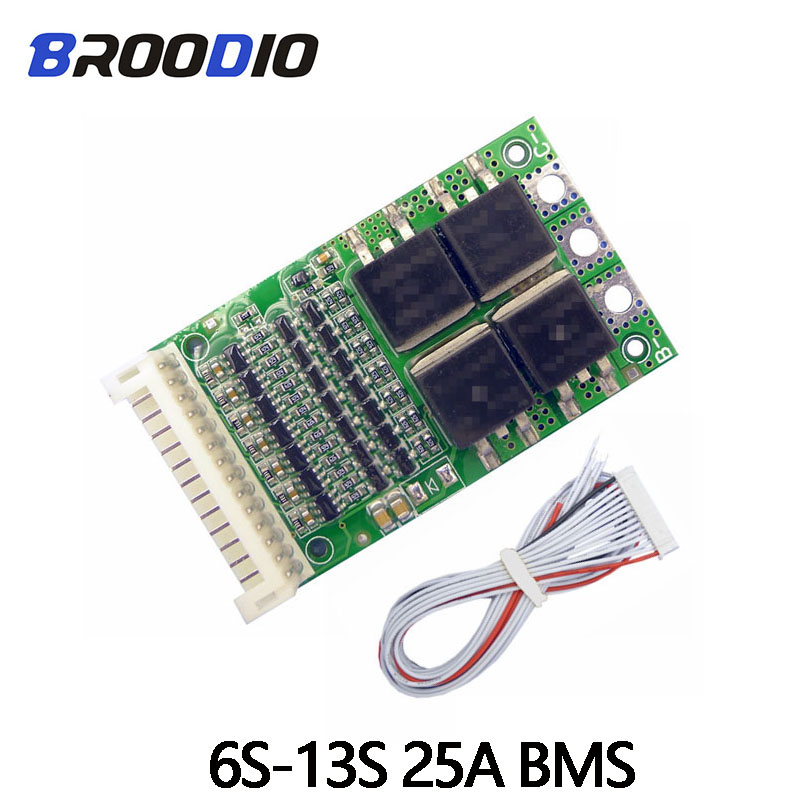 <font><b>BMS</b></font> 6S 7S 8S 9S <font><b>10S</b></font> 11S 12S 13S 4.2V 25A Adjustable <font><b>18650</b></font> <font><b>BMS</b></font> Lithium Li-ion Battery Pack Protection Circuit Module PCB PCM image