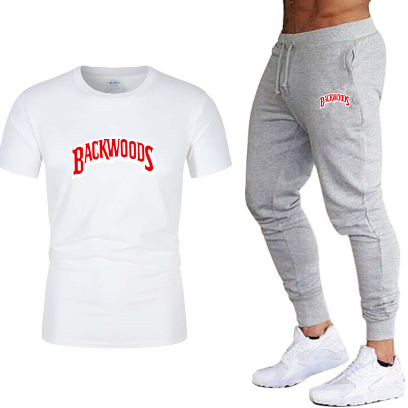 Men's New Summer T-shirt + Pants Two-piece Men's And Women's Sportswear New Fashion Printing Set Sportswear Gym Fitness Pants