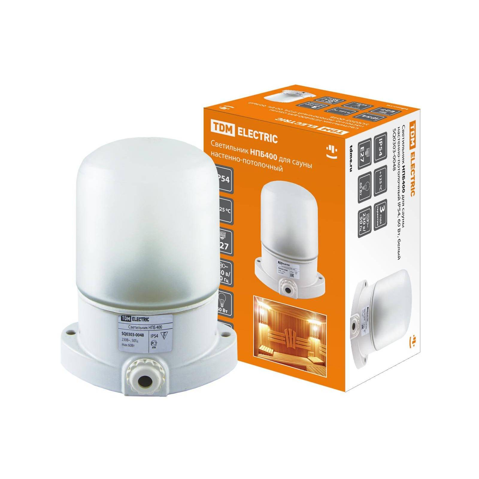 Lamp NPB 400 For Sauna Wall-ceiling White, IP54, 60 W, White, TDM Sq0303-0048