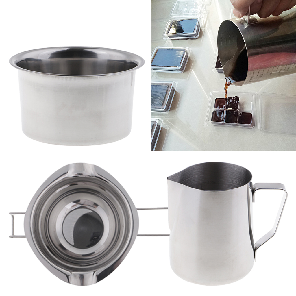 Double Boiler Insert for Melting Butter Chocolate Cheese Caramel Candle Red Handle, 600ML YAMYO Stainless Steel Melting Pot