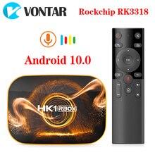 Caixa de tv de vontar hk1 android 10 4g 64gb rockchip rk3318 1080p 4k android conjunto de tv caixa superior android 10.0 tvbox media player