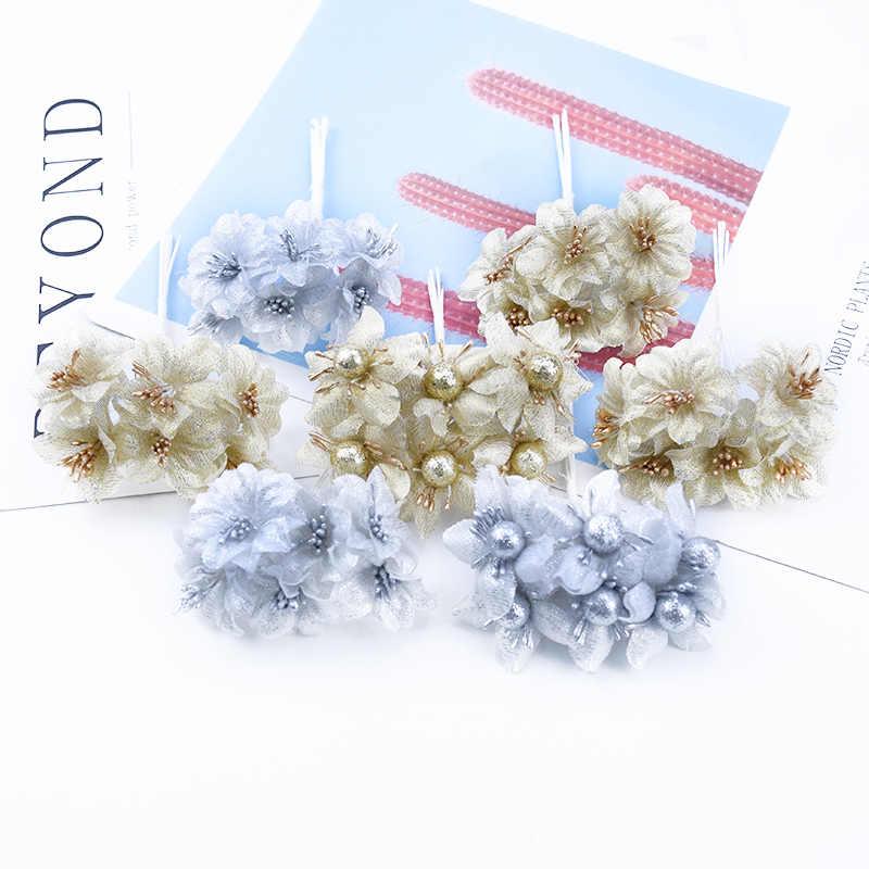 6 Buah Sutra Bouquet Palsu Bunga Rumah Natal Dekorasi Aksesoris Diy Scrapbooking Pernikahan Vas untuk Dekorasi