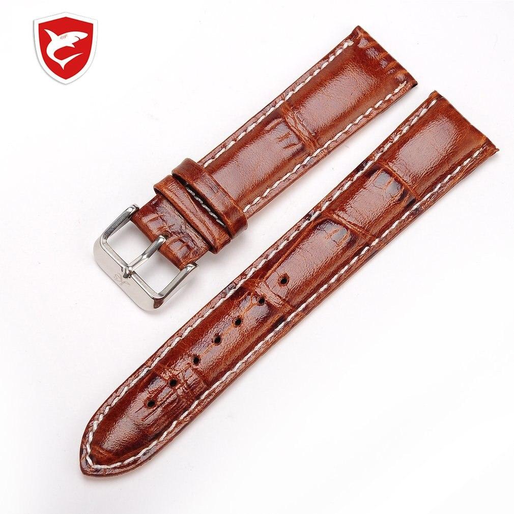 Genuine KS Brand Logo Men Wrist Watch Black Brown Leather Belt Band Steel Buckle Replacement Watchband For Wristwatch /WTL019-27