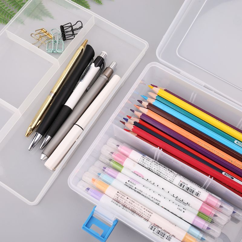 Double Layer Pencil Case Transparent Plastic Pen Storage Box Stationery School Office Supplies Kids Gift