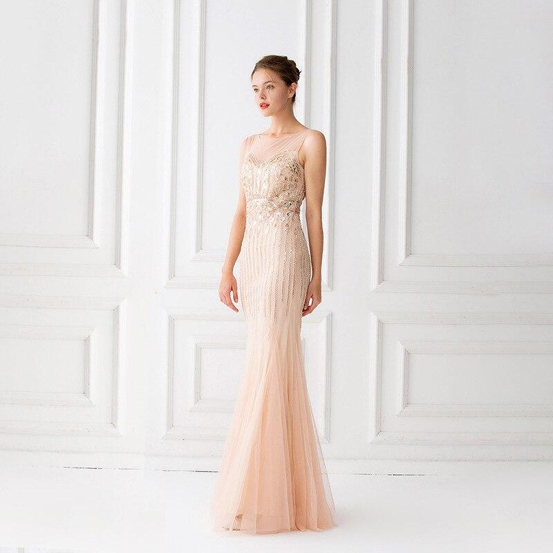 Image 3 - Mermaid Evening Dresses Floor Length Tulle Beaded Champagne  Evening Dresses Sleeveless Evening Dresses Long Vestido De FestaEvening  Dresses