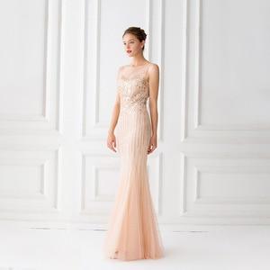 Image 3 - Mermaid suknie wieczorowe długość podłogi tiul zroszony suknie wieczorowe szampana suknie wieczorowe bez rękawów długie Vestido De Festa
