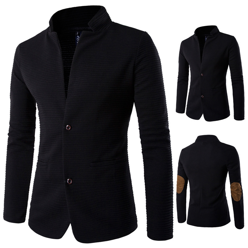 Autumn And Winter New Style Men's Cool Collarless Suit Jacket Korean-style Fashion Slim Fit Joint MEN'S Suit Explosion