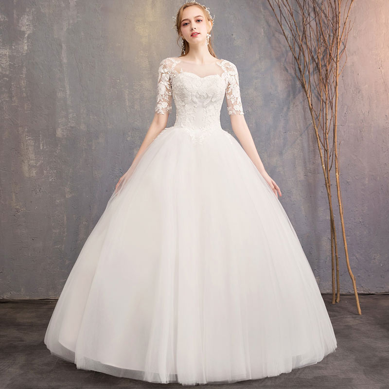 New Charming Lace Wedding Dresses Fashion Big Yards Princess Wedding Gown Bridal Slim Fit Applique Wedding Dress