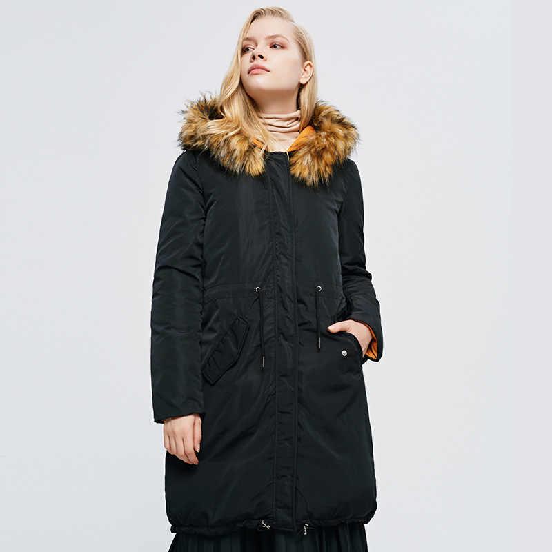 Lovelyfox 2019 desgaste de doble cara cálida Parka chaquetas falsa de dos piezas de algodón abrigo negro/abrigo naranja ropa de invierno