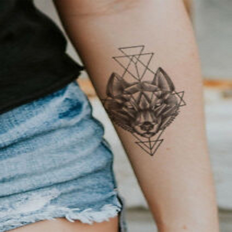 Disposable Tattoo Waterproof Geometric Cool Temporary Tattoo Sticker Double Rose Black Wolf Line Simple Body Art Sticker Temporary Tattoos Aliexpress