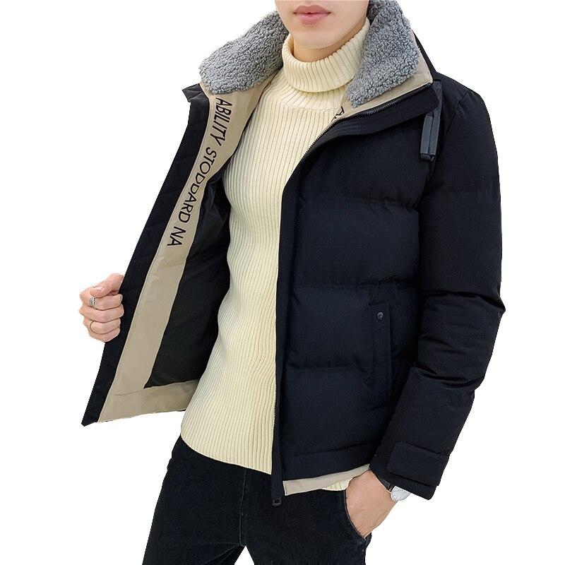 Workwear Cotton Men's Lamb Collar Trend Cotton Jacket Handsome Casual Short Jacket Winter Casual Street Slim Jacket