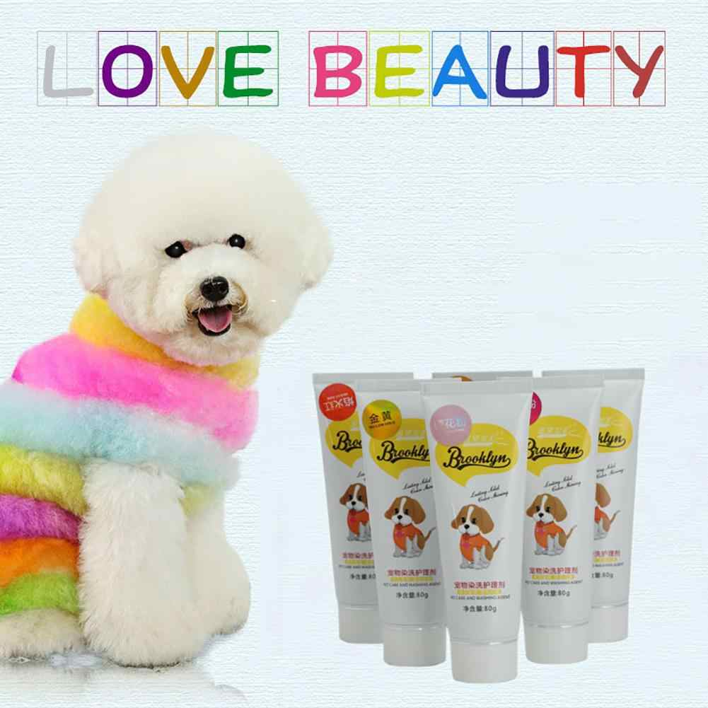 80g Pet Dog Cats Animals Hair Bright Coloring Dyestuffs Dyeing Pigment Agent Supplies Safe Dog Accessories