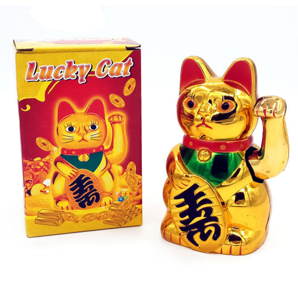Gold Maneki Neko Cute Lucky Cat Electric Craft Art Home Shop Hotel Drop Ship JUL3 title=
