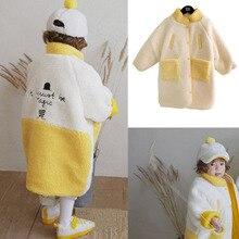 Blouson dhiver en duvet pour bambins  De marque coréenne, veste chaude pour enfants filles, manteaux de poche jaunes et blancs, 2019