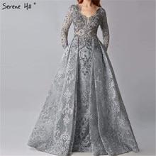 Gri müslüman boncuklu Mermaid dantel kristal tasarım abiye 2020 Dubai lüks uzun kollu abiye giyim Serene tepe LA70424