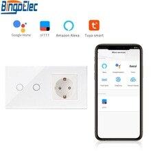 Bingoelec Interruptor inteligente de pared, panel táctil inalámbrico de cristal compatible con enchufe UE estándar de 2 y 1 entradas, control wifi con aplicación Tuya en el hogar