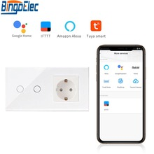 Bingoelec Smart Home Automation Wand Schalter EU Standard 2 Gang 1 Weg Wifi Glas Panel Touch Schalter Drahtlose Steuerung Durch tuya APP
