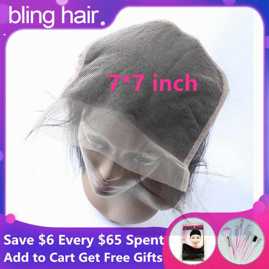 Bling Hair 7x7 zamknięcie koronki peruwiański prosto 5x5 6x6 100% Remy uzupełnienie splotu ludzkich włosów bezpłatne środkowa część z dzieckiem włosy Natural Color