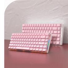 AJAZZ Pink AK33 Mechanical Gaming Keyboard 82 Keys Layout Cute Pink White Backlit Green Switch Keyboard for Win PC Desktop Gamer