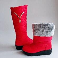 Winter Boots Platform Waterproof Fashion Women Plus-Size Knee Fur Down Warm Casual