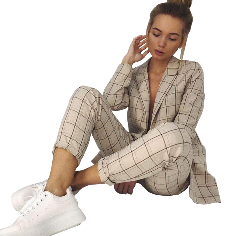 MVGIRLRU Plaid Long Sleeve Blazer Pants Set Women Autumn Workwear Lady Two Piece Suits