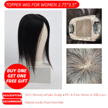 "MW Virgin Silk Top Hair Pieces Remy Human Hair Topper Wigs 150% Density Natural Color Toupees For Women 10"" 12"" 2.75*3.5""(China)"