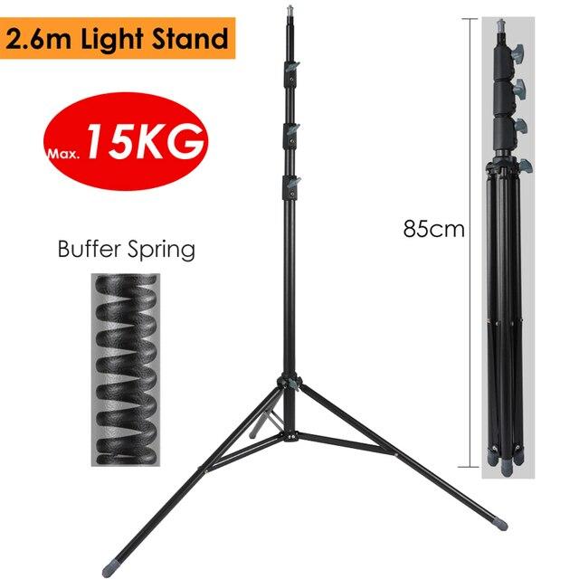 2.6m Heavy Duty Steel Metal Photo Video Light Stand w/ Buffer Spring Tripod for Studio Softbox Video Reflector, Max Load 15KG