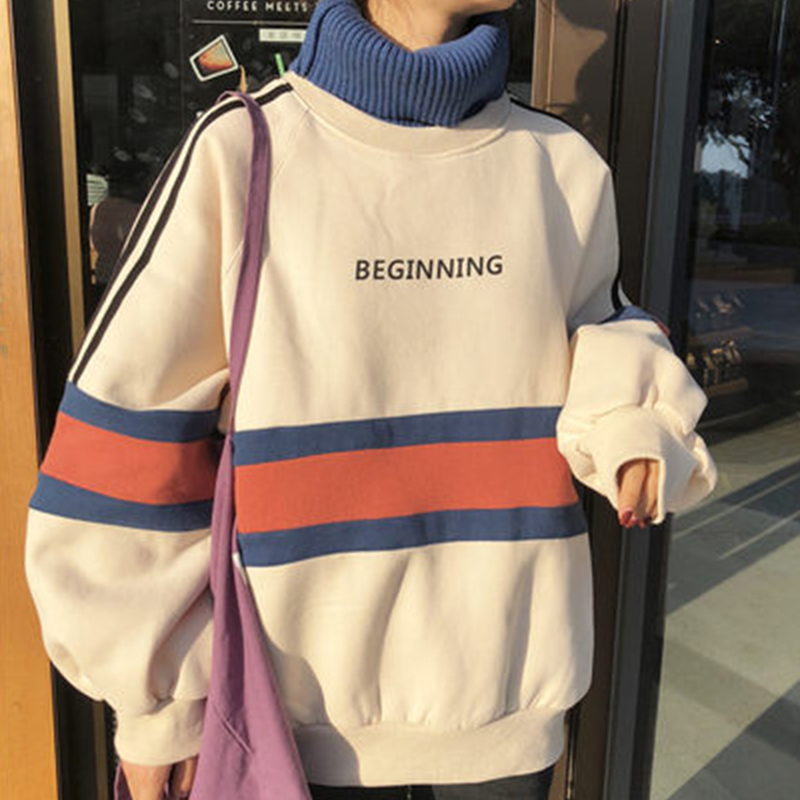 New Women Female Tide Harajuku Sweatshirt Hoodie Trend Thick Half High Collar Ins Velvet Fake Two Loose Jacket Winter Thickening