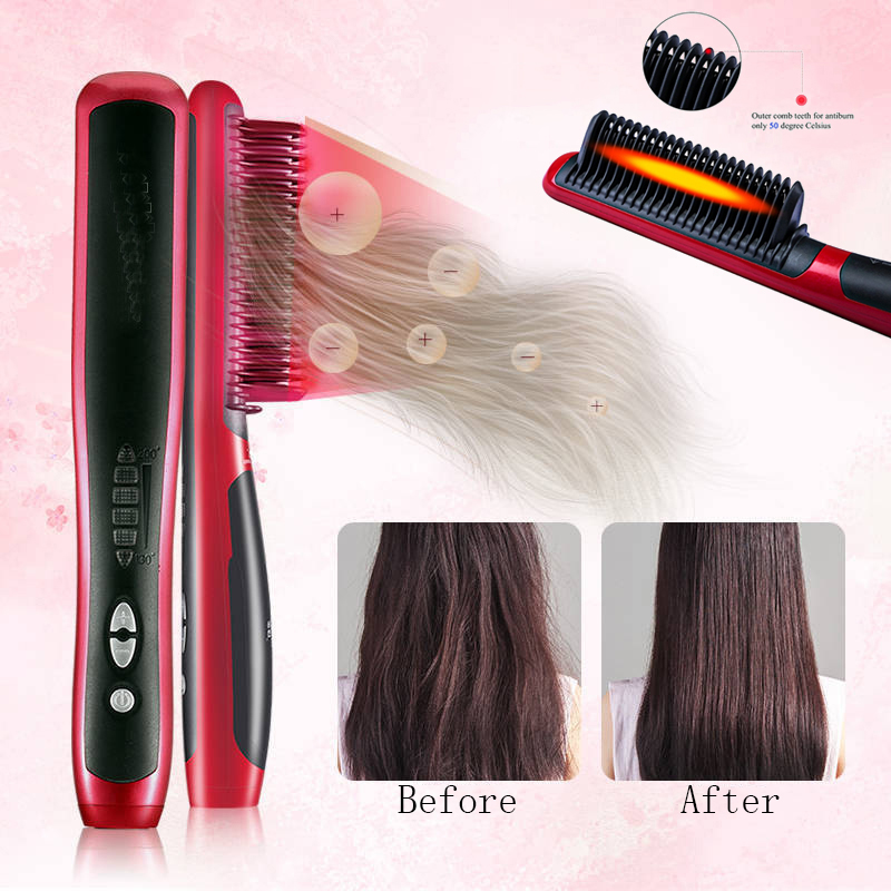 Straightening Heating Combs Men Beard Hair Straightener Ceramic Curler Professional Heated Comb Electric Hair Brush Straightener