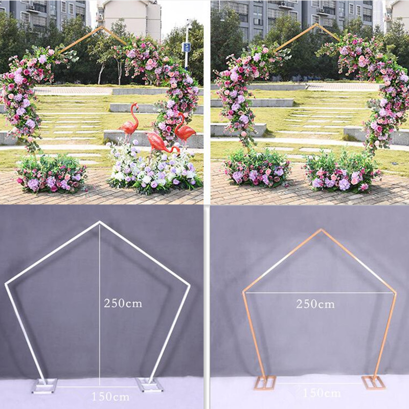 Pentagone arc cadre en métal carré fête de mariage arc Base pôle présentoir ensemble bal jardin décoration florale fête fournitures