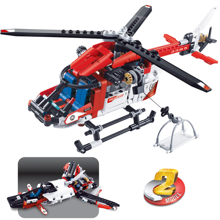 Image 2 - DECOOL TECHNIC 3357 CITY Rescue Helicopter 2IN1 Aircraft Plane Model Building Blocks Bricks Toys For Children Gifts lepinly 9396Blocks   -