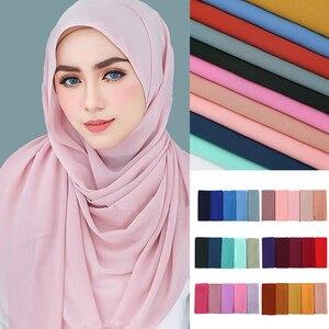 Image 1 - Мусульманский шарф, женский простой пузырьковый шифоновый хиджаб, шарф, мягкие длинные мусульманский головной платок, жоржетты, шарфы, хиджабы 50 цветов