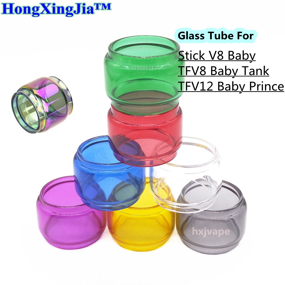 HxjVape Extend Pyrex Glass Tube For Smok Stick V8 Baby TFV12 Baby Prince TFV8 Baby Atomizer Tank 8 Colors Glass Seal Ring