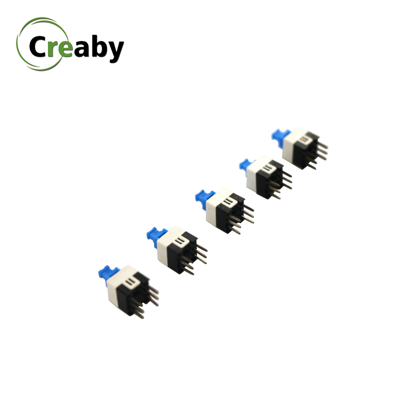 10PCS 6 Pin PCB Tact Tactile Push Button Switch Self Lock DPDT Power Micro Switches 7mmx7mm 7*7MM