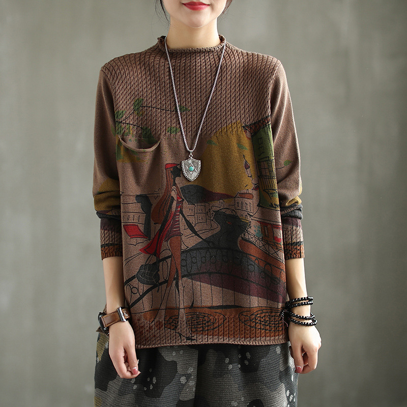 Women Spring Autumn Korea Style Round Neck Long Sleeve Vintage Girl And Hometown Printing Knitted Female Casual Oversize Sweater