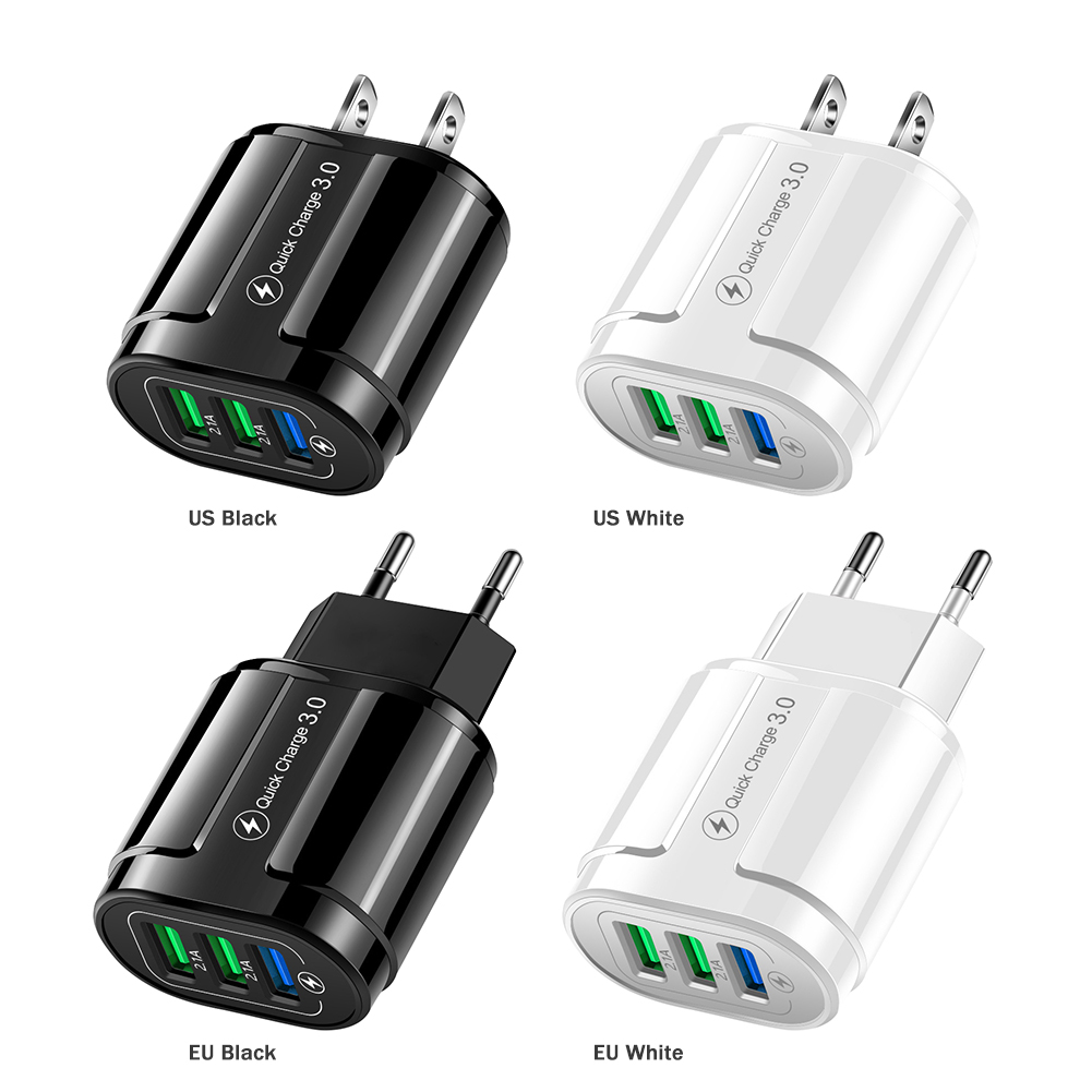 3 Ports USB Charger 3.1A Quick Charge 3.0 Universal Wall Mobile Phone Tablet Fast Charger Adapter for iPhone Samsung US EU Plug image