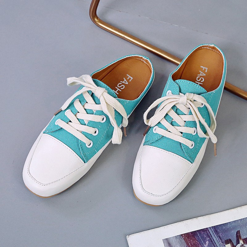 New Style Canvas Shoes WOMEN'S Shoes South Korea Dongdaemun Spring Square Head Low Heel Lace-up Deep Mouth Students Foot Coverin