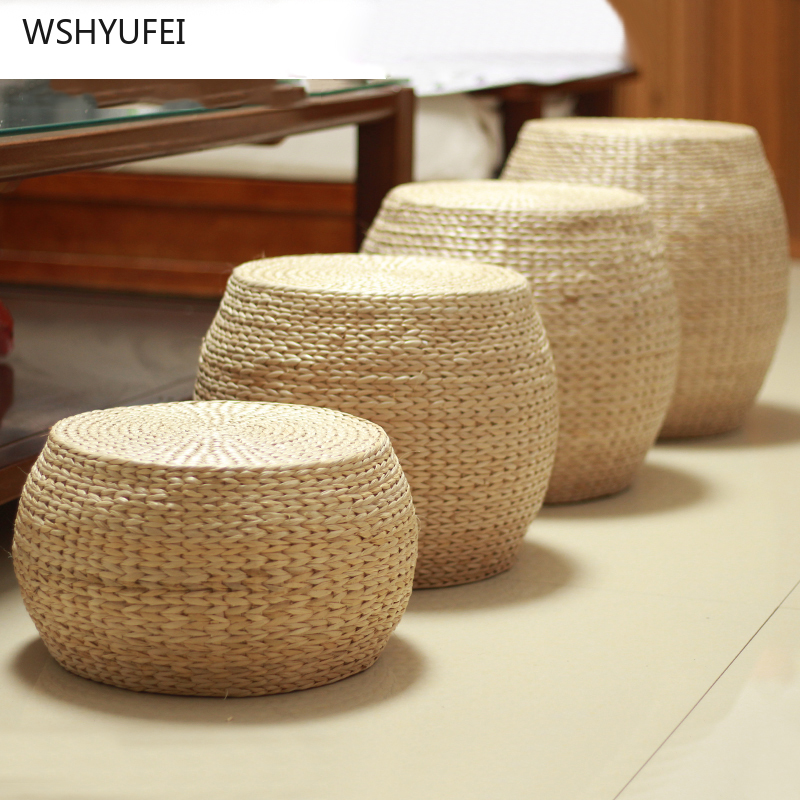 Direct Home Straw Mats Change Shoes Stool Tatami Stool Home Bedroom Living Room Balcony Tea Solid Wood Stool Decoration