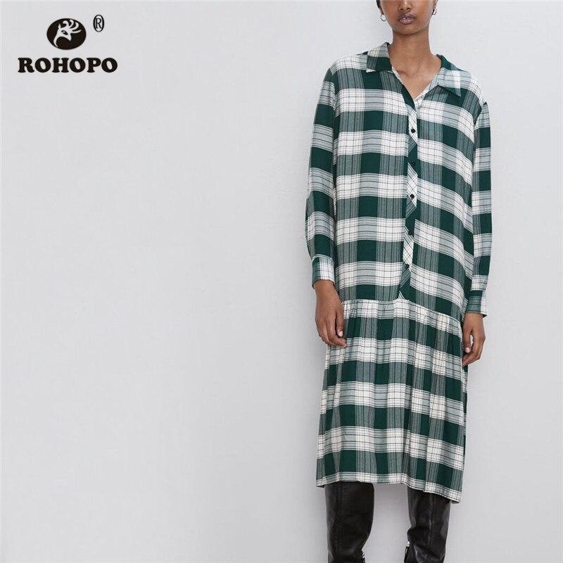ROHOPO Big Green White Plaid Top Buttons Fly Ruffled Midi Dress Long Sleeve Vintage Turn Down Collar British Calf Robe #9775