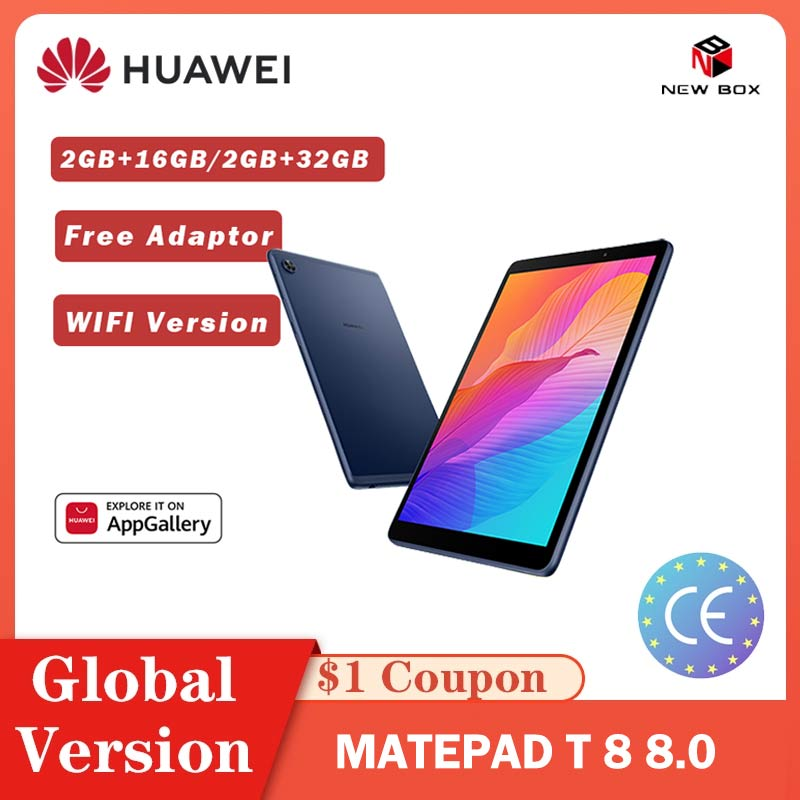 Huawei matepad t8 t 8 versão global 2gb 16gb/32gb wifi tablet pc 8.0 Polegada faceunlock 5100mah suporte cartão microsd android10