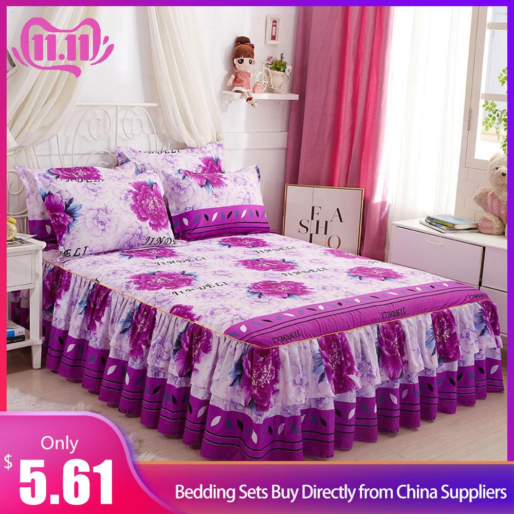 NEW Bed Skirt Queen Size Double-Layer Skin-Friendly Cotton Bedspread 3PCs Set 1 Bedspread 2 Pillowcases Flower Series 1.5*2M #4O