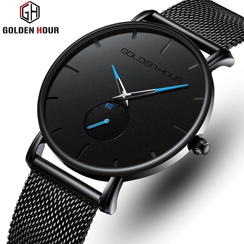GOLDENHOUR Men Watch Top Brand Luxury Fashion Business Quartz Mens Watches Waterproof Sports Men's Wrist Watch Relogio Masculino